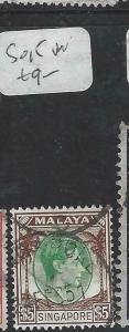 SINGAPORE  (P1404BB)  KGVI   $5.00  SG 15    VFU