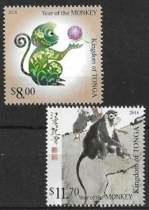 2015    TONGA  -  SG.  1780 / 1781  -  YEAR OF THE MONKEY  -  MNH