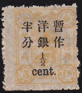 China SC #56 Stamp 1897 orange 1/2 of 3cd Dowager Jubilee Chan 65 Ma's74 MINT OG