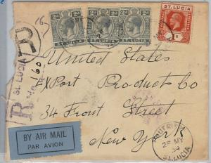 39771   ST LUCIA -  POSTAL HISTORY - REGISTERED AIRMAIL COVER to USA - 1934