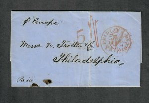 Transatlantic Ship Cover Liverpool To Philadelphia 1858 Cunard Europa