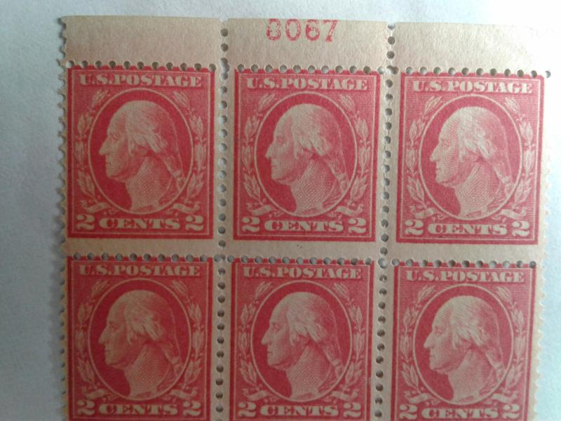 SCOTT # 499 PLATE BLOCK OF 6 #0067 INCREDIBLE MINT NEVER HINGED GEM !!  1917 !!!