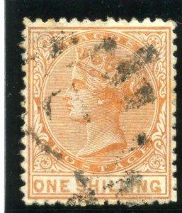 Lagos 1875 QV 1s orange (value 16½mm) very fine used. SG 8a. Sc 6.
