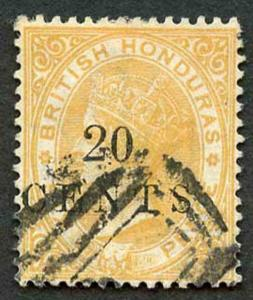 British Honduras SG29 20 cents on 6d Yellow fine used