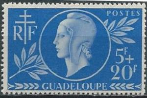 Guadeloupe B12 (mh) 5fr+20fr Red Cross, ultra (1944)
