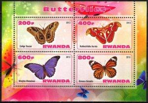 Rwanda 2013 Butterflies (4) MNH Cinderella !