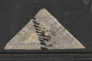 CAPE OF GOOD HOPE 1855-63   6d   PALE ROSE LILAC   IMPERF  GU   SG 7