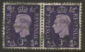 Great Britain - Scott 240 -KGVI Definitive -1937 -FU -Horiz.Pair of 3p Stamp