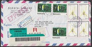 VANUATU 1992 Registered EXPRESS cover Port Vila to Auckland................55424