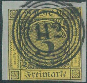 77883e - GERMANY Baden -  STAMP:  Michel  #  2b   - USED on small piece  - Nice