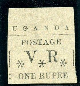Uganda 1896 QV 1r black (no gum as issued) MLH. SG 60. Sc 67.