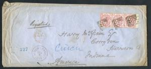 GB #61 STR/3 ON REGISTERED COVER TO HARRISON Co., INDIANA W/ ENCLOSURES BU3489