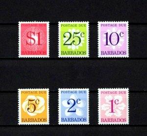 BARBADOS - 1950 - POSTAGE DUE STAMPS - FLOWER - J10 - J15 - 6 X MINT - MNH SET!
