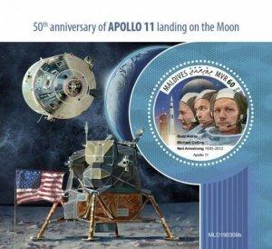 Z08 MLD190309b MALDIVES 2019 Apollo 11 Moon Landing MNH ** Postfrisch
