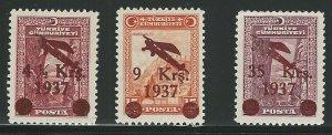 Turkey, Scott #C6-C8 mint, lightly hinged very fine