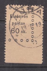LITHUANIA, 1919 2nd. Kaunus, 60s. Black on Buff, used.