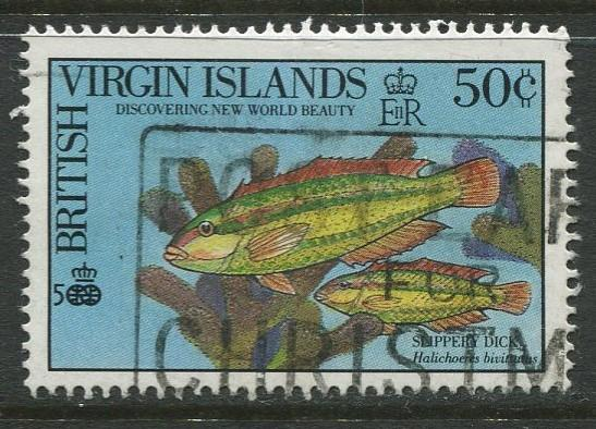 Virgin Is.- Scott 670 -Fish-Slippery Dick -1990 - Used - Single 50c Stamp