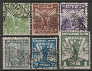 Chile 1930 Sc 175-80 set used