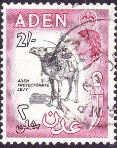 ADEN 1963 QEII 2/- Black & Carmine-Rose SG66b Used