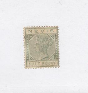 NEVIS (MK1008) # 21 VF-USED THIN 1/2d  QUEEN VICTORIA /LIGHT GREEN CAT VALUE $14