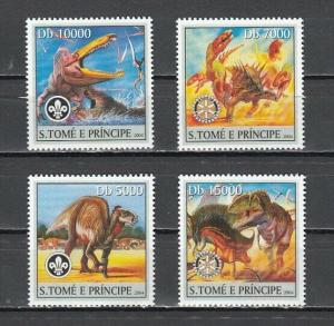 St. Thomas, 2004 issue. Dinosaurs issue with Scout & Rotary Logos.