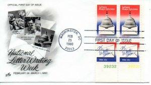 US FDC #1809-1810 Letter Writing Plate Block, ArtCraft (2546)