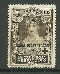 1926 Spanish Morocco 5c Queen Victoria MH with gum faults