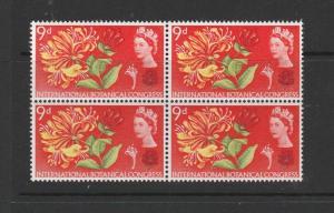 GB 1964 Botanical 9d Ord,Variety, Line thru INTER,UM/MNH block 4, Concise listed