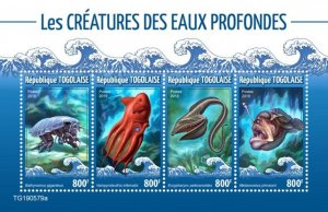 TOGO - 2019 - Deep Sea Creatures - Perf 4v Sheet - M N H