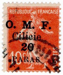 (I.B) France Postal : OMF Sicily 20pa on 10c OP
