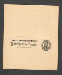 US Sc#UY3b Error Reply Card Printed Both Sides-Rare, Minor Faults, Cv. $450