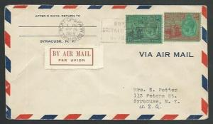 TRINIDAD 1929 1/6d rate airmail cover to USA, BUY BR EMPIRE GOODS slogan...59947