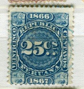 PERU; 1860s early classic Revenue issue fine used 25c. value