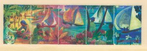 Cocos Islands Scott 330 Strip of 5 MNH! Boats & Festival!