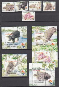 Z3033 2001 philippines mnh set + s/s #2711a-e,2712-6 s/s wildlife