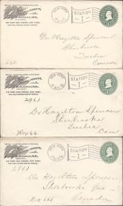 Scott U352, Three Stationary Entires to Canada, Postal St...