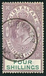 Gibraltar SG53 KEVII 4/- Dull Purple and Green Wmk Crown CA Fine Used