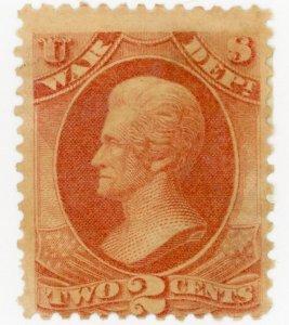 #O84 – 1873 2c ros, war, hard paper.  MLH Gum Dist.