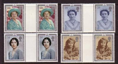 Great Britain SC 1327-30 1990 90th Birthday Queen Moth gutter pairs mint NH