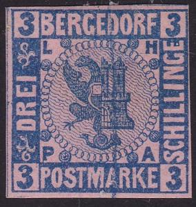 BERGEDORF GERMANY  An old forgery of a classic stamp........................1021