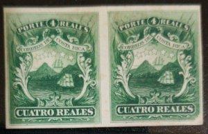 A) 1863, COSTA RICA, GREEN CARDBOARD DICE PROOF AMERICAN BANK NOTE