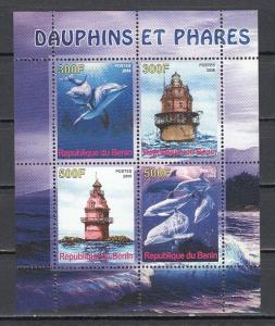 Benin, 2008 Cinderella issue. Dolphins and Lighthouses sheet of 4.