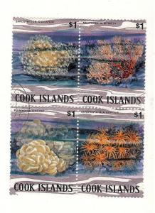 Cook Island, 581a-d. Coral, Block (4), Used