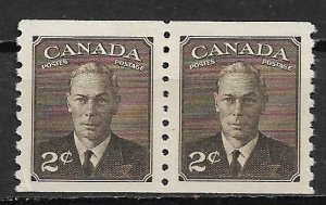 1950 Canada 298 King George VI 2c coil pair with Postes Postage MH