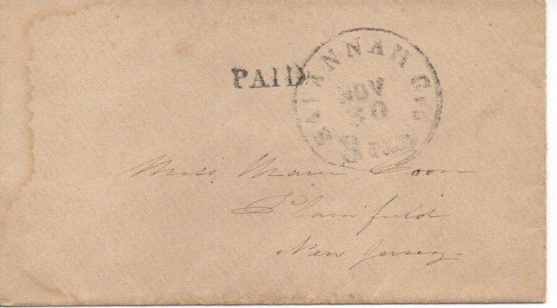 Georgia Stampless Cover, Savannah Nov 30 3 Paid - No Contents