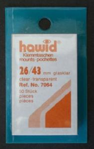 Hawid Stamp Mounts Size 26/43 CLEAR Pack of 50