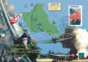 [96906] Montserrat 1998 World War II Pearl Harbor Eisenhower First Day Card