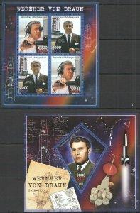 PE533 2013 MADAGASCAR SPACE EXPLORATION WERNER VON BRAUN KB+BL MNH STAMPS