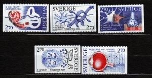J23097 JLstamps 1984 sweden set mnh #1521-5 designs