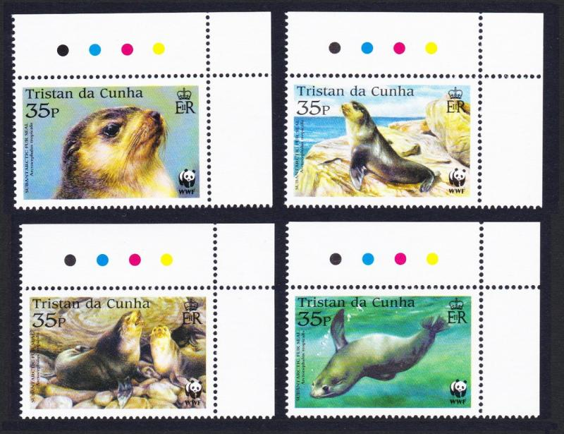 Tristan da Cunha WWF Subantarctic Fur Seal 4v Top Right Corners Traffic Lights